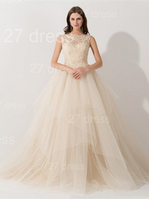 Newest Illusion Princess Tulle Evening Dress UK Lace Ruffles_1