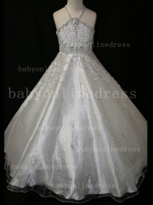 Halter Girls Dresses on Sale Discounted Pageant Beaded Crystal Organza Gowns Stores_2
