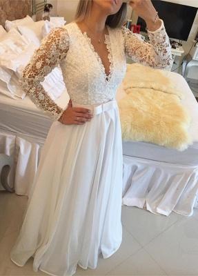 Elegant Long Sleeve Pearls Wedding Dresses UK A-Line Lace Floor Length BT0_1