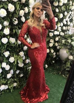 Modest Deep V-neck Lace Mermaid Evening Dress UK   Long Sleeve Evening Gown_1
