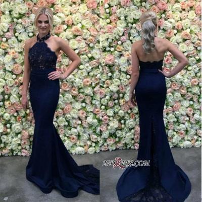 Lace Navy Mermaid Appliques Long Luxury Halter Evening Dress UK_1