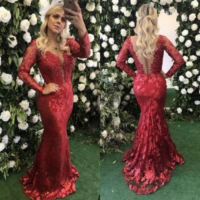 Modest Deep V-neck Lace Mermaid Evening Dress UK   Long Sleeve Evening Gown_4