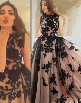 Apppliques Sexy Scoop-Neckline Ball-Gown Sweep-train Prom Dress UK lpl074_1