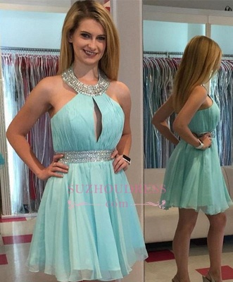 Ruffles Summer Halter Sleeveless Beading Chiffon Mini Homecoming Dress UKes UK_1