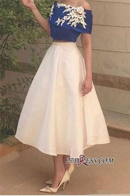 Tea-Length Appliques Off-The-Shoulder Two-Pieces Sexy Prom Dress UK_2
