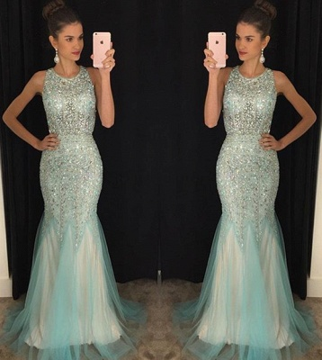 Luxury Crystals Mermaid Jewel Prom Dress UK Sleeveless Sweep Train AP0 BA7309_3