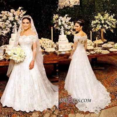 Zipper Lace Button Pretty Long-Sleeve Wedding Dress_1