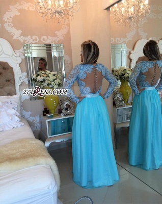 Long Sleeve Lace Evening Dress UK V-neck Blue Chiffon Prom Dress UK_4