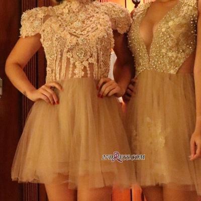 Lace shaort prom Dress UK, lace homecoming Dress UK_1