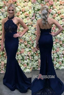 Lace Navy Mermaid Appliques Long Luxury Halter Evening Dress UK_2