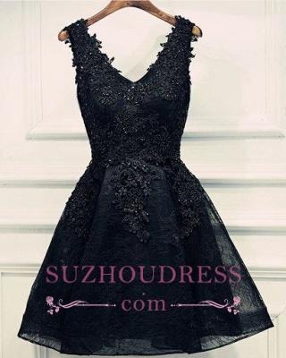 Lace-Up Black Short V-Neck Beading Lace-Appliques Homecoming Dress UKes UK BA6904_1