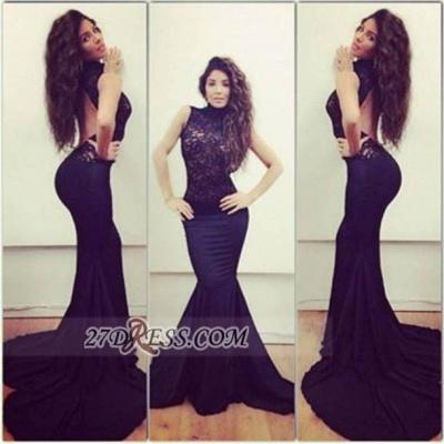 Modern Sleeveless Mermaid Black Prom Dress UK Open Back High Neck With Lace_1
