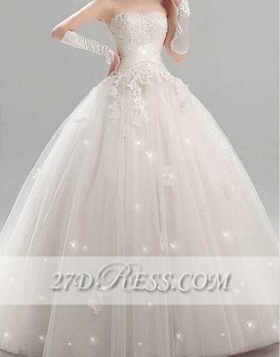 Elegant Tulle Strapless Wedding Dresses UK Appliques Bridal Ball Gowns_1