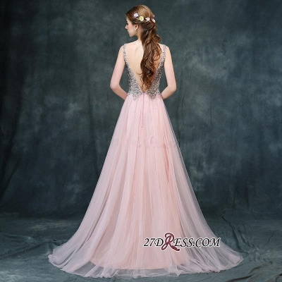 Long Beaded Luxury V-Neck Backless Pink A-line Prom Dress UKes UK BA4011_1