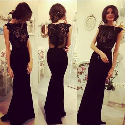 Sexy Black Sleeveless Mermaid Evening Dress UK Lace Appliques Beadings_3
