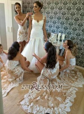 Elegant Sweetheart Sleeveless Hi-Lo Bridesmaid Dress UK With Lace Appliques_3