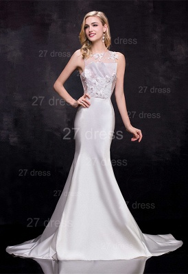 Newest Illusion Sleeveless Sexy Mermaid Wedding Dress Sweep Train_1