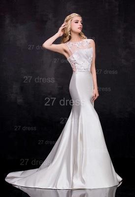 Newest Illusion Sleeveless Sexy Mermaid Wedding Dress Sweep Train_2