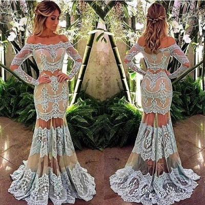 Elegant off-the-Shoulder Long Sleeve Prom Dress UK Mermaid Lace Sheer Skirt Party Gowns BA4074_2