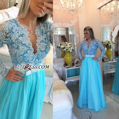 Long Sleeve Lace Evening Dress UK V-neck Blue Chiffon Prom Dress UK_3