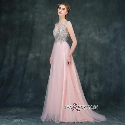 Long Beaded Luxury V-Neck Backless Pink A-line Prom Dress UKes UK BA4011_2