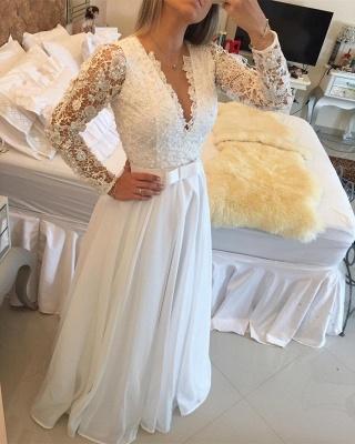 Elegant Long Sleeve Pearls Wedding Dresses UK A-Line Lace Floor Length BT0_4