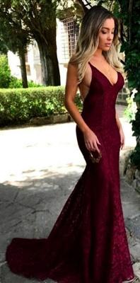 Gorgeous Maroon V Neck Lace Evening Dress UK Mermaid Long On Sale BA7196_5