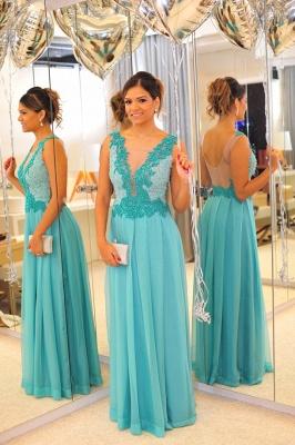 De Long Blue Lace Prom Dress UK Lindo Vstidos Womens Evening Party Gowns Applique Beading Chiffon_6