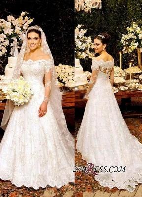 Zipper Lace Button Pretty Long-Sleeve Wedding Dress_2