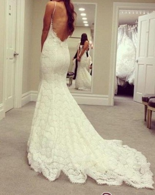 Cheap Simple Sexy Mermaid  Backless Spaghetti-Straps Lace Wedding Dresses UK_1