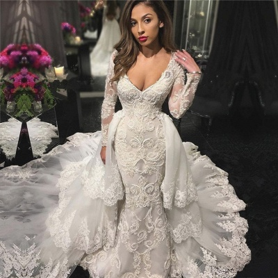V-neck Beads Appliques Wedding Dresses UK with Sleeves |  Sexy Mermaid Overskirt Bride Dresses Cheap_3