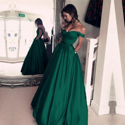 Sexy Off-the-Shoulder Evening Dress UK | Green Long Prom Dress UK_4