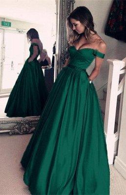 Sexy Off-the-Shoulder Evening Dress UK | Green Long Prom Dress UK_1
