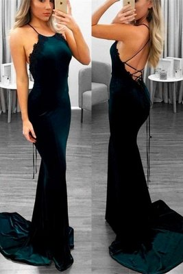 Luxury Halter Mermaid Prom Dress UK Lace Appliques With Strings Back_1