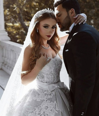 Glamorous Lace Wedding Dresses UK With Bows Sweetheart Sleeveless Over-Skirt Bridal Gowns_5