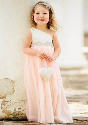 Delicate One Shoulder Chiffon Flower Girl Dress Pearls_1