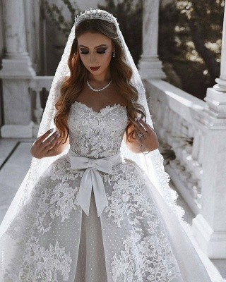 Glamorous Lace Wedding Dresses UK With Bows Sweetheart Sleeveless Over-Skirt Bridal Gowns_4