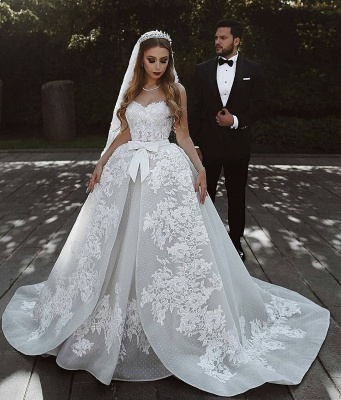 Glamorous Lace Wedding Dresses UK With Bows Sweetheart Sleeveless Over-Skirt Bridal Gowns_3