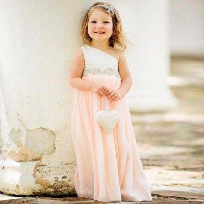 Delicate One Shoulder Chiffon Flower Girl Dress Pearls_2
