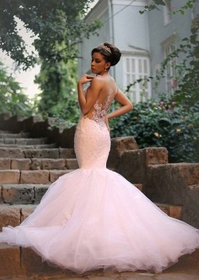 Fabulous Sweetheart Sexy Mermaid Wedding Dresses UK Beadss Tulle Lace Appliques_1