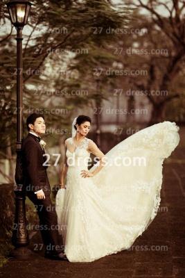 Train Lace Wedding Dresses UK Long Sleeves Elegant Ivory A-line Sheer Cheap Crew Neck Applique Chapel Bridal Gowns_4