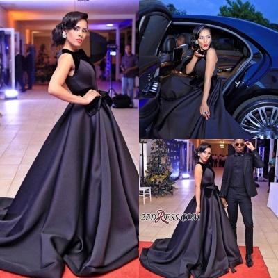 Sleeveless Sweep-Train Black Gorgeous Evening Dress UK_2