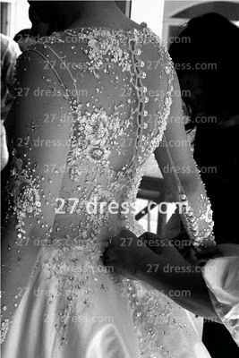 Elegant Lace Back Appliques A-Line Wedding Dresses UK Pearls Beaded Button Bridal Gown With Long Sleeves & Court Train_3