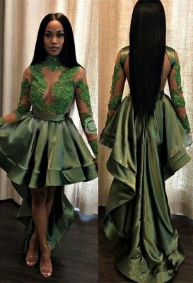 Green Hi-Lo Prom Dress UK   Long Sleeve Evening Party Gowns_2