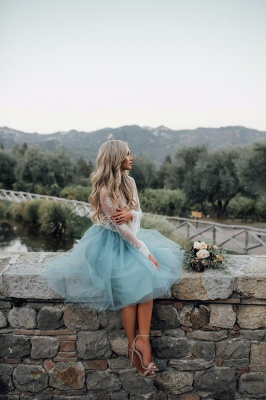 Long Sleeve Lace Short Prom Dress UK Tulle Party Gowns_5