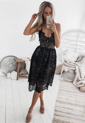 Elegant Black 2019 Short Homecoming Dress UK   Lace Spaghetti-Straps Party Dress UK_1