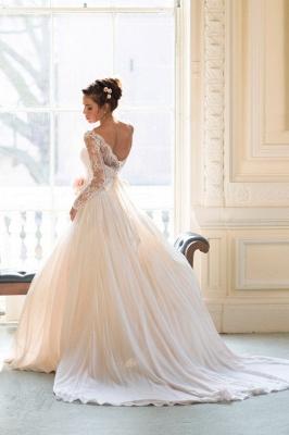 Elegant Long Sleeve Lace Wedding Dresses UK Princess  Bridal Gowns_1
