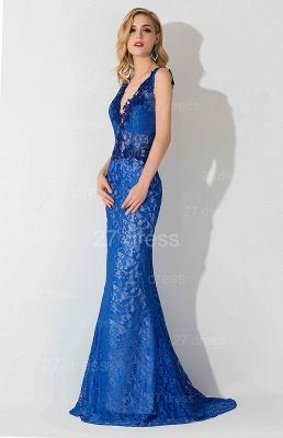 Delicate V-neck Lace Appliques Evening Dress UK Royal Blue_2