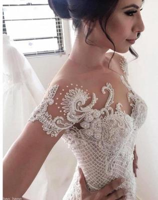 Gorgeous Ball Gown Lace Appliques Wedding Dress Short Sleeve Illusion LP076_4