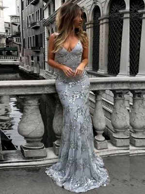 Gorgeous V-neck Long Prom Dress UK Mermaid Sequins Party Dress UK BA7489_3